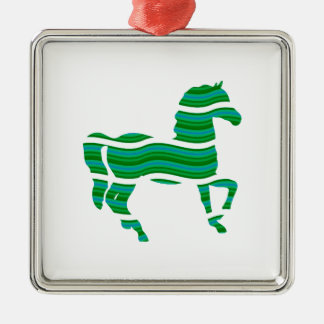 Green stripped Thoroughbred Metal Ornament