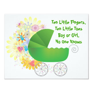 Green Stroller Baby Shower Invitation