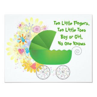 Green Stroller Baby Shower Invitation