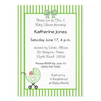 Green Stroller Baby Shower Invitations