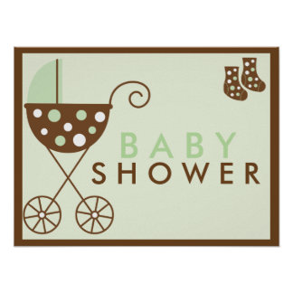 Green Stroller Baby Shower Sign Posters
