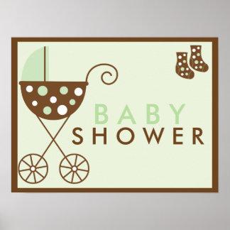 Green Stroller Baby Shower Sign Poster