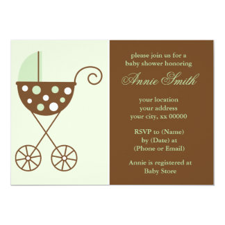 "Green Stroller Neutral Baby Shower Invites 5"" X 7"" Invitation Card"