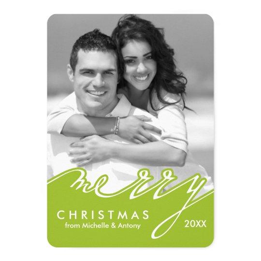 Green Stylish Script Happy Holidays Card