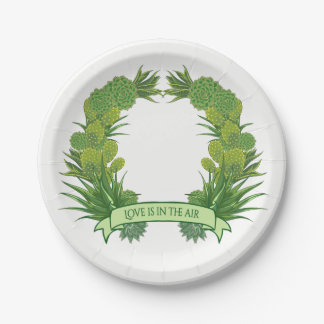 Green Succulent & Cactus Floral Wedding Party 7 Inch Paper Plate