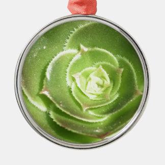 Green succulent metal ornament
