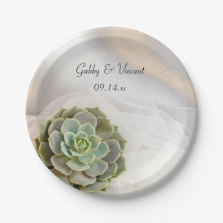 Green Succulent on White Wedding 7 Inch Paper Plate