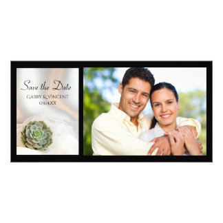 Green Succulent on White Wedding Save the Date Customised Photo Card