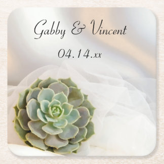 Green Succulent on White Wedding Square Paper Coaster