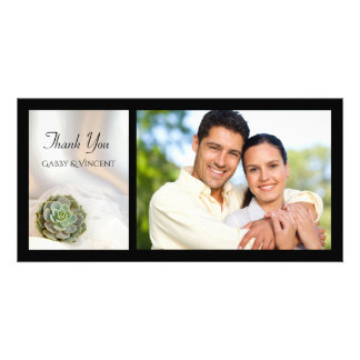 Green Succulent on White Wedding Thank You Photo Personalized Photo Card
