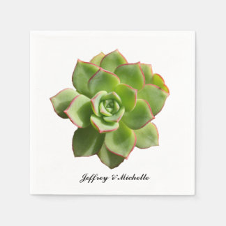 Green Succulent Personalised Paper Serviettes