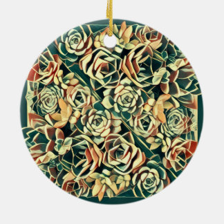 green succulent square ceramic ornament