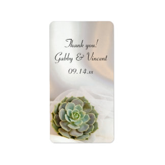 Green Succulent White Wedding Thank You Favor Tags Address Label