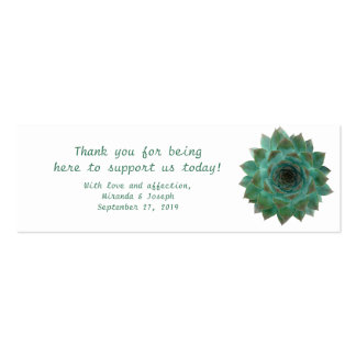 Green Succulents Custom Wedding Favour Tags Pack Of Skinny Business Cards