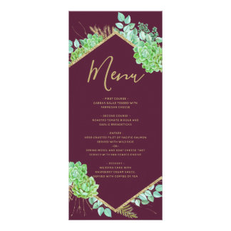 Green Succulents Gold Frame Marsala Wedding Menu