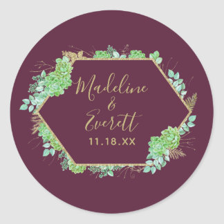 Green Succulents Gold Frame Monogram Wedding Classic Round Sticker