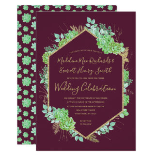 Green Succulents Gold Frame Wedding Invitation