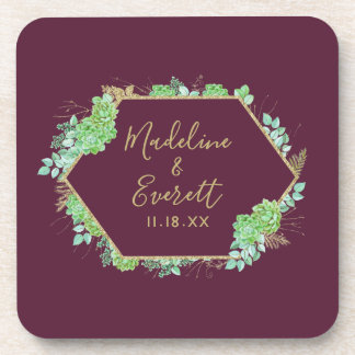 Green Succulents Gold Frame Wedding Monogram Coaster