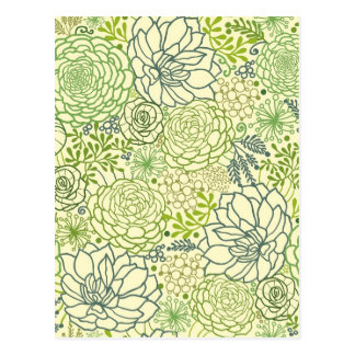 Green succulents pattern postcard
