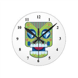 Green Sugar Skull Diamonds Wall Clock