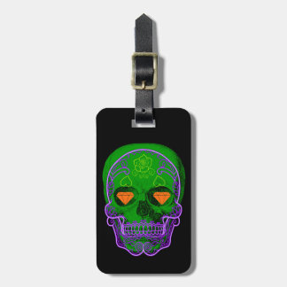 Green Sugar Skull Luggage Tag