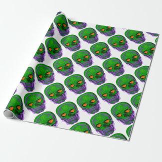 Green Sugar Skull Wrapping Paper