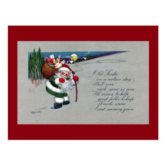 Green Suited Santa Hikes Up Hill Vintage Christmas Postcard