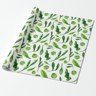 Green summer botanical pattern Watercolor greenery Wrapping Paper