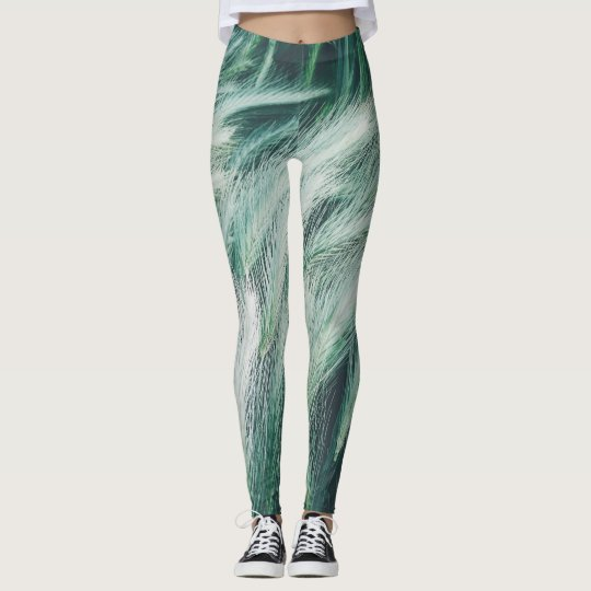 Green summer grass leggings