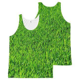 Green Summer Grass Texture All-Over Print Singlet