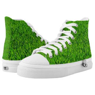 Green Summer Grass Texture High Tops