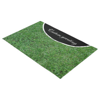 Green summer grass, yard, lawn 099 photo doormat