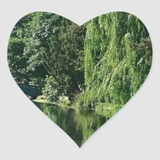 Green sunny spring day green trees river walk heart sticker
