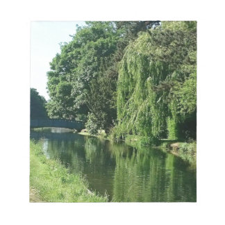 Green sunny spring day green trees river walk notepads