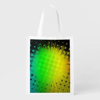 Green Super Hero Sunburst Reusable Grocery Bag