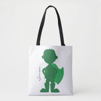 Green Superhero Boy Modern Personalized Silhouette Tote Bag
