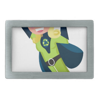 Green superhero girl belt buckles