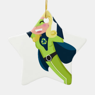 Green superhero girl ceramic ornament