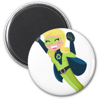 Green superhero girl magnet
