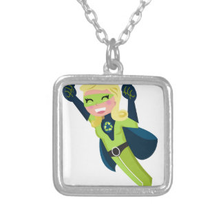Green superhero girl silver plated necklace