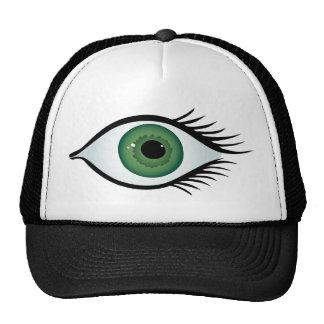 green surprised eye cap