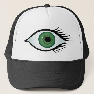 green surprised eye trucker hat