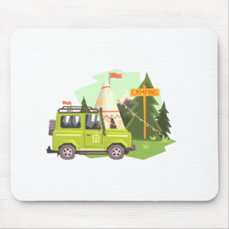 Green suv Parked Nest To The Camp Site. Cool Color Mouse Pad