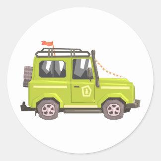 Green suv Safari Car. Cool Colorful Vector Illustr Classic Round Sticker