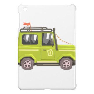 Green suv Safari Car. Cool Colorful Vector Illustr Cover For The iPad Mini