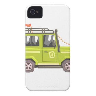 Green suv Safari Car. Cool Colorful Vector Illustr iPhone 4 Cases