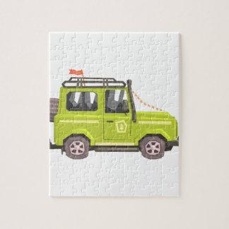Green suv Safari Car. Cool Colorful Vector Illustr Jigsaw Puzzle
