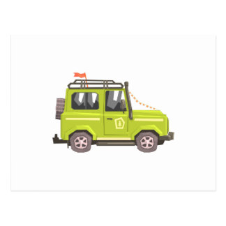 Green suv Safari Car. Cool Colorful Vector Illustr Postcard