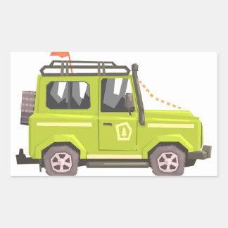 Green suv Safari Car. Cool Colorful Vector Illustr Rectangular Sticker