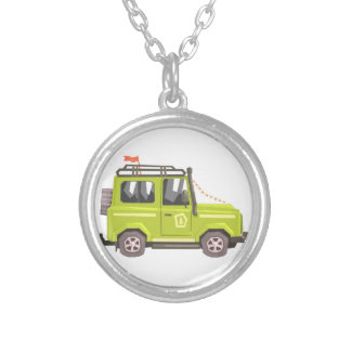 Green suv Safari Car. Cool Colorful Vector Illustr Silver Plated Necklace